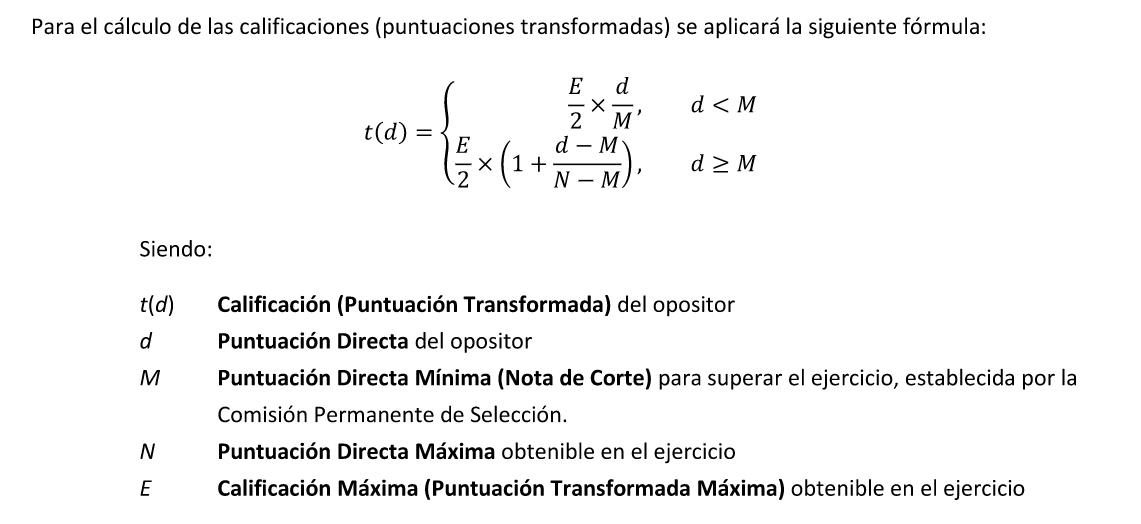 calculo nota transformada auxiliar administrativo del estado