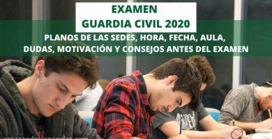 opositores haciendo el examen guardia civil 2020