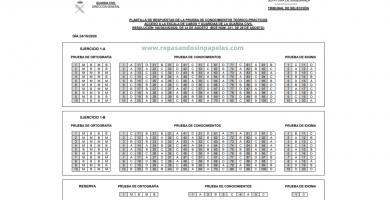 respuestas del examen de la guardia civil en octubre de 2020